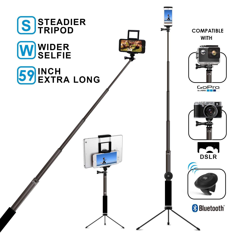 Bluetooth selfie stick with tripod, remote 59-inch MFW