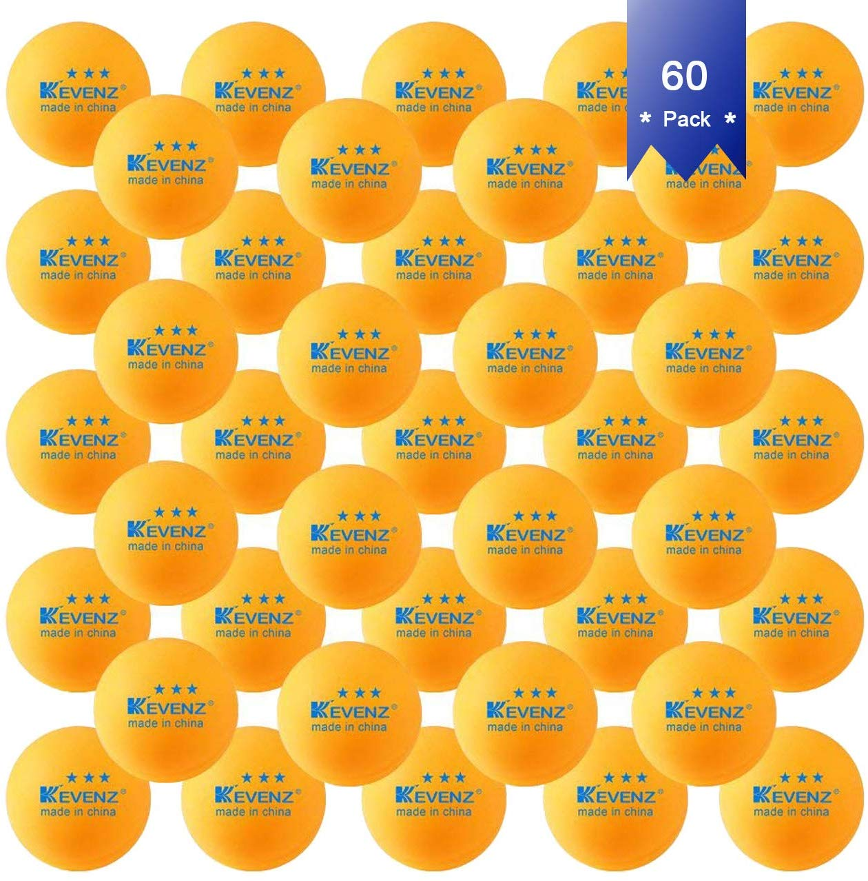 KEVENZ 50-Pack 3-Star Plus 40mm Orange Table Tennis Balls, Advanced Training Ping Pong Balls