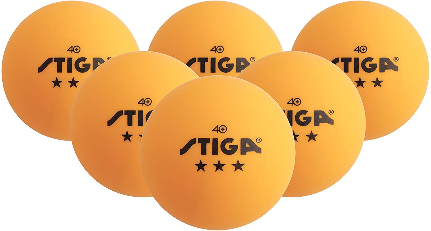 STIGA 3-Star Table Tennis Balls (Orange, 40mm Two 6 Pack)