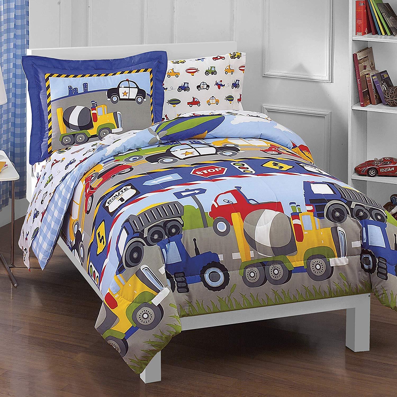 Dream Factory Trucks Tractors Cars Boys 5-Piece Comforter Sheet Set.