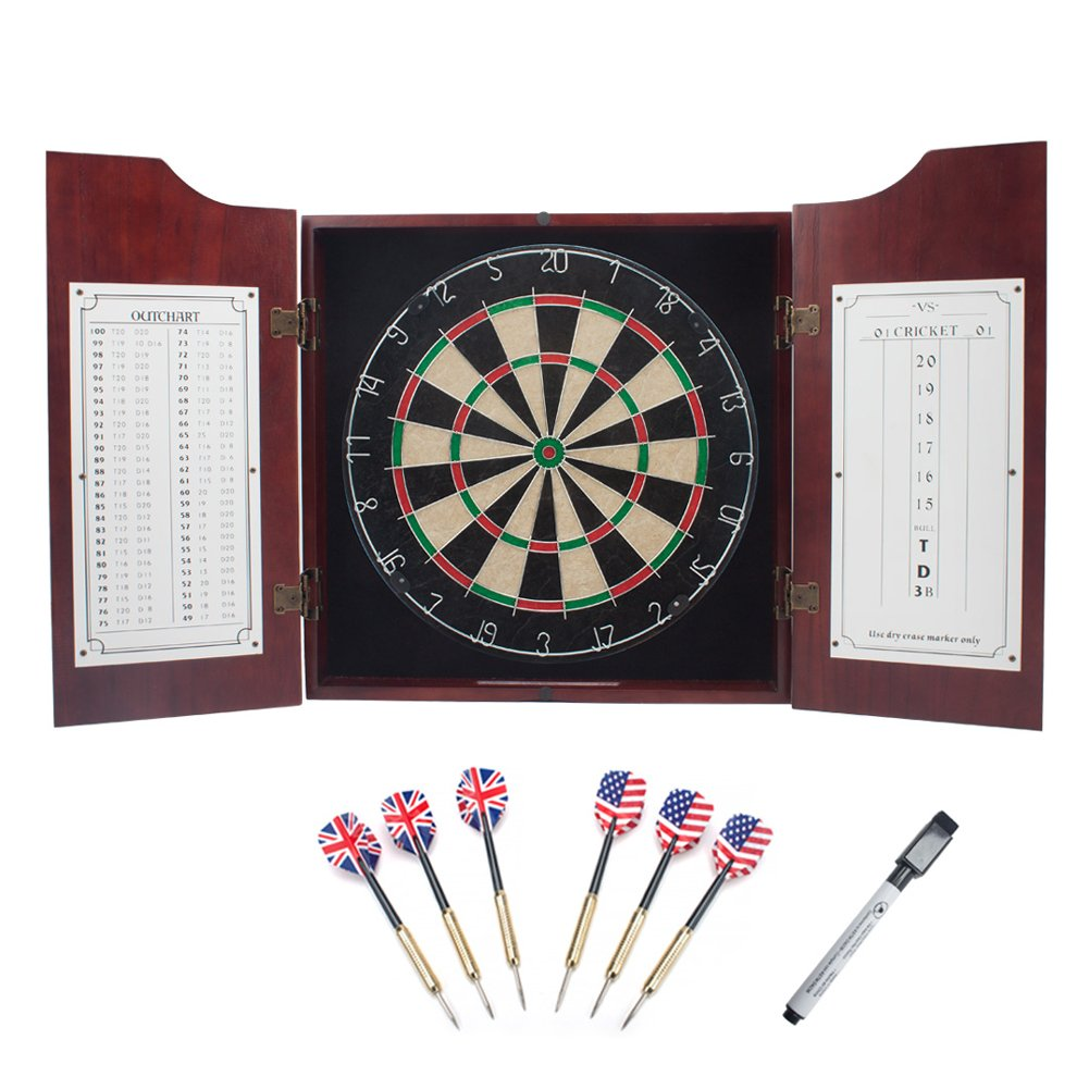 GSE Games and Sports Expert Solid Wood Dartboard Cabinet Set with Bristle Dartboard