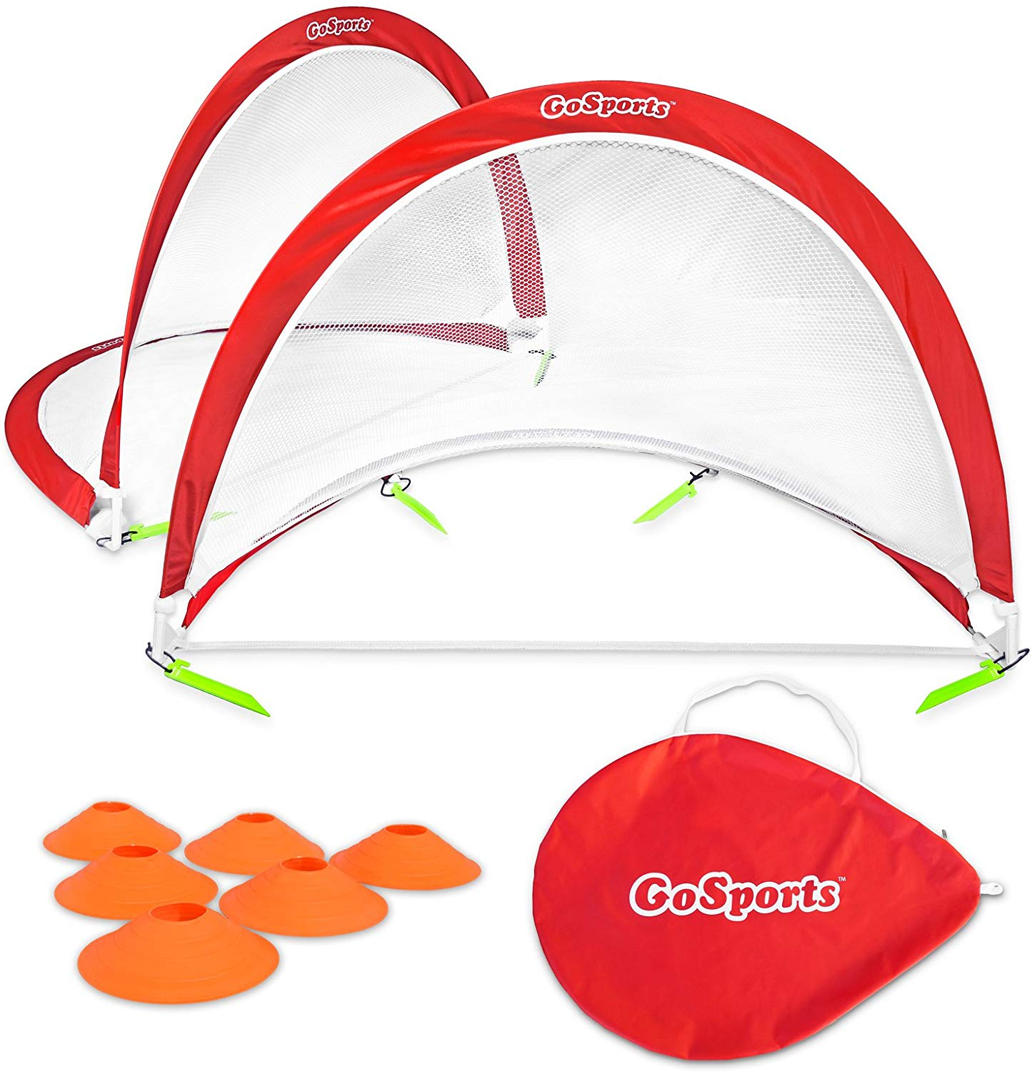 GoSports Foldable Pop Up Soccer Goal Nets, Set of 2, With Agility Training Cones