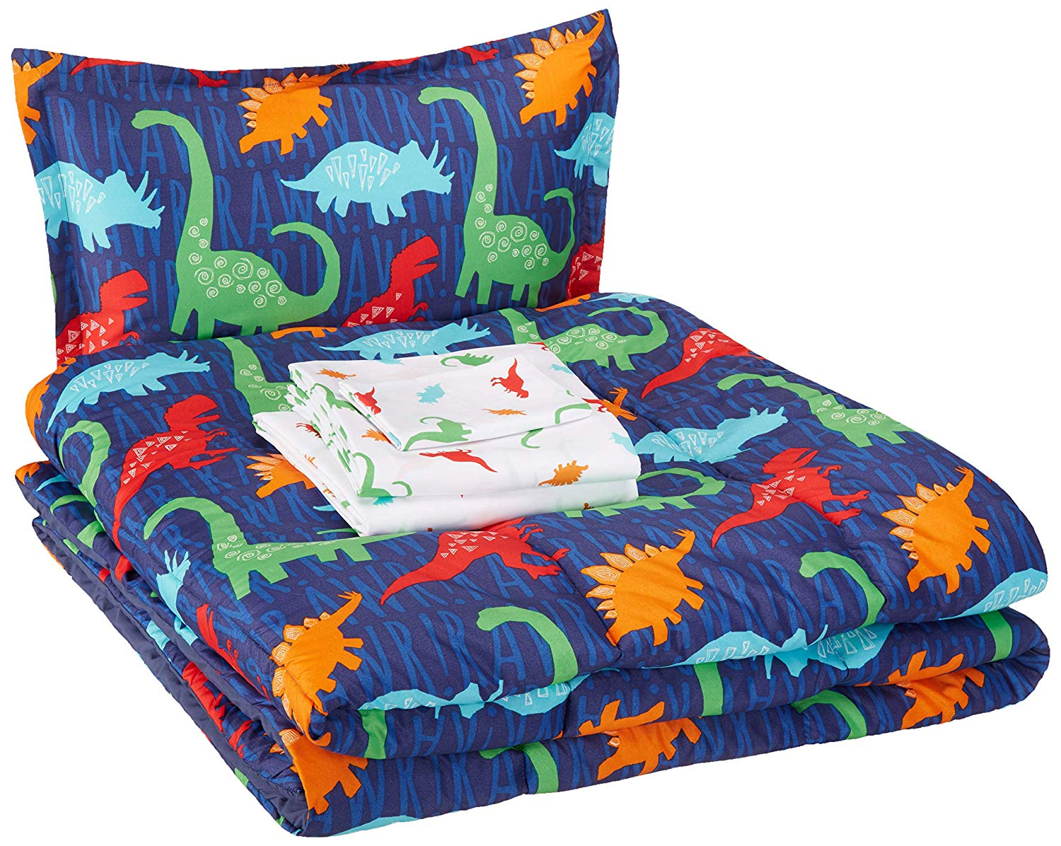Amazon Basic Easy Wash Microfiber Kid's Bed in a Bag Bedding Set Twin Multi Color Dinosaurs