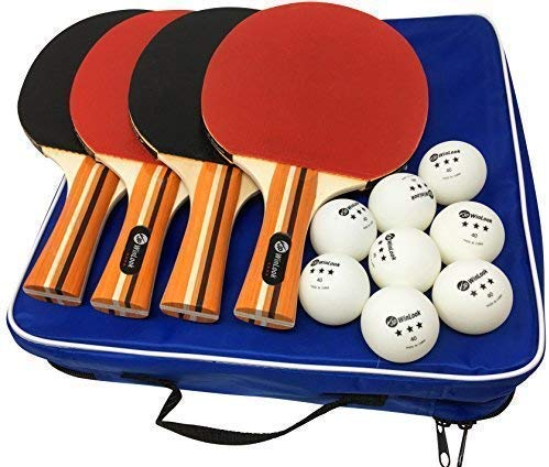 JP WinLook Ping Pong Paddle - 4 Pack; Pro Premium Table Tennis Racket Set