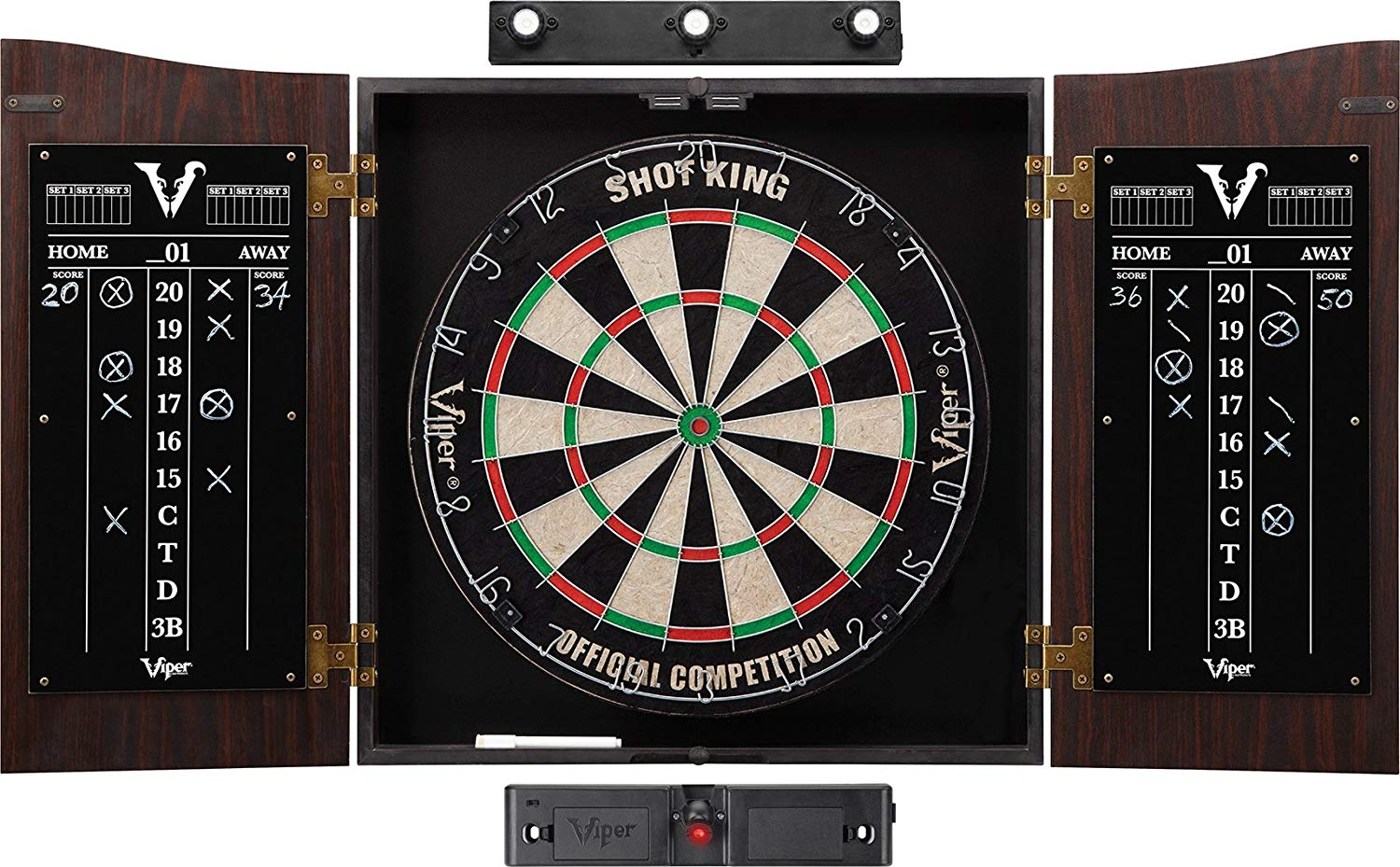 Viper Vault Cabinet and Shot King Sisal/Bristle Dartboard Ready-to-play Bundle