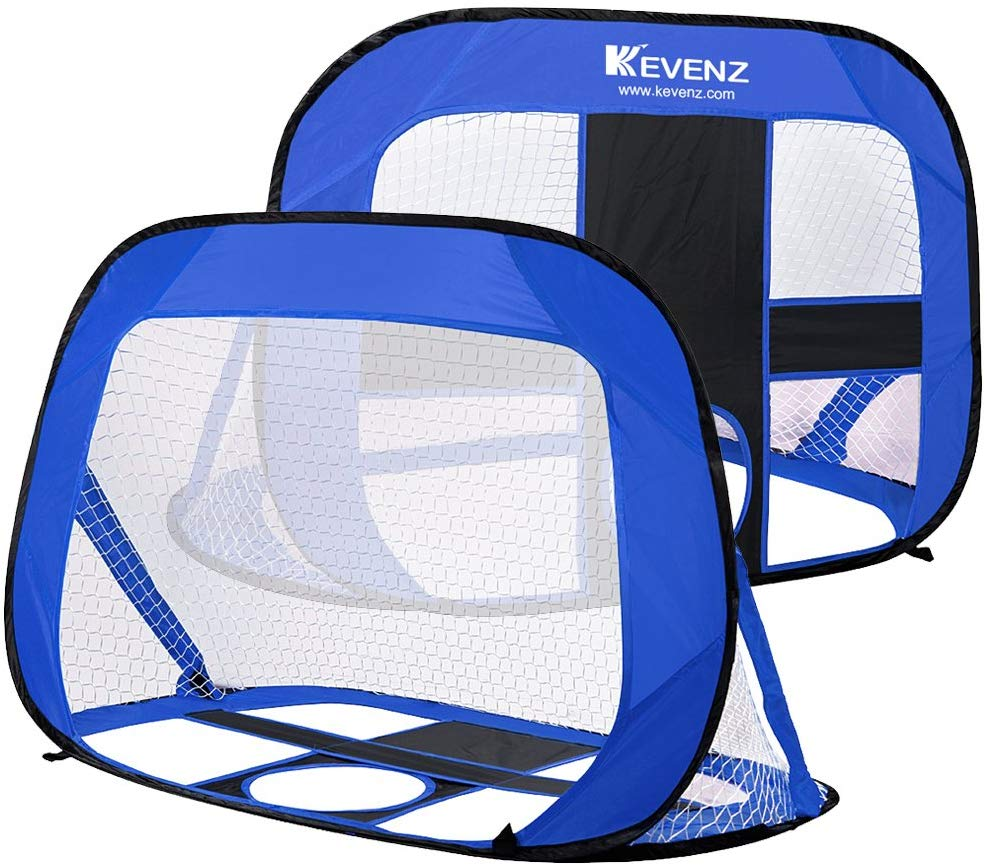 Kevenz Pop Up Soccer Goals Multipurpose Portable Soccer Nets With Carry Bag(2-Pack,Blue)