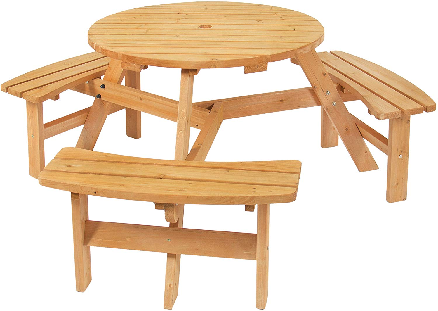 The Best Choice Products Natural Finish 6 Person Wood Picnic Table Set