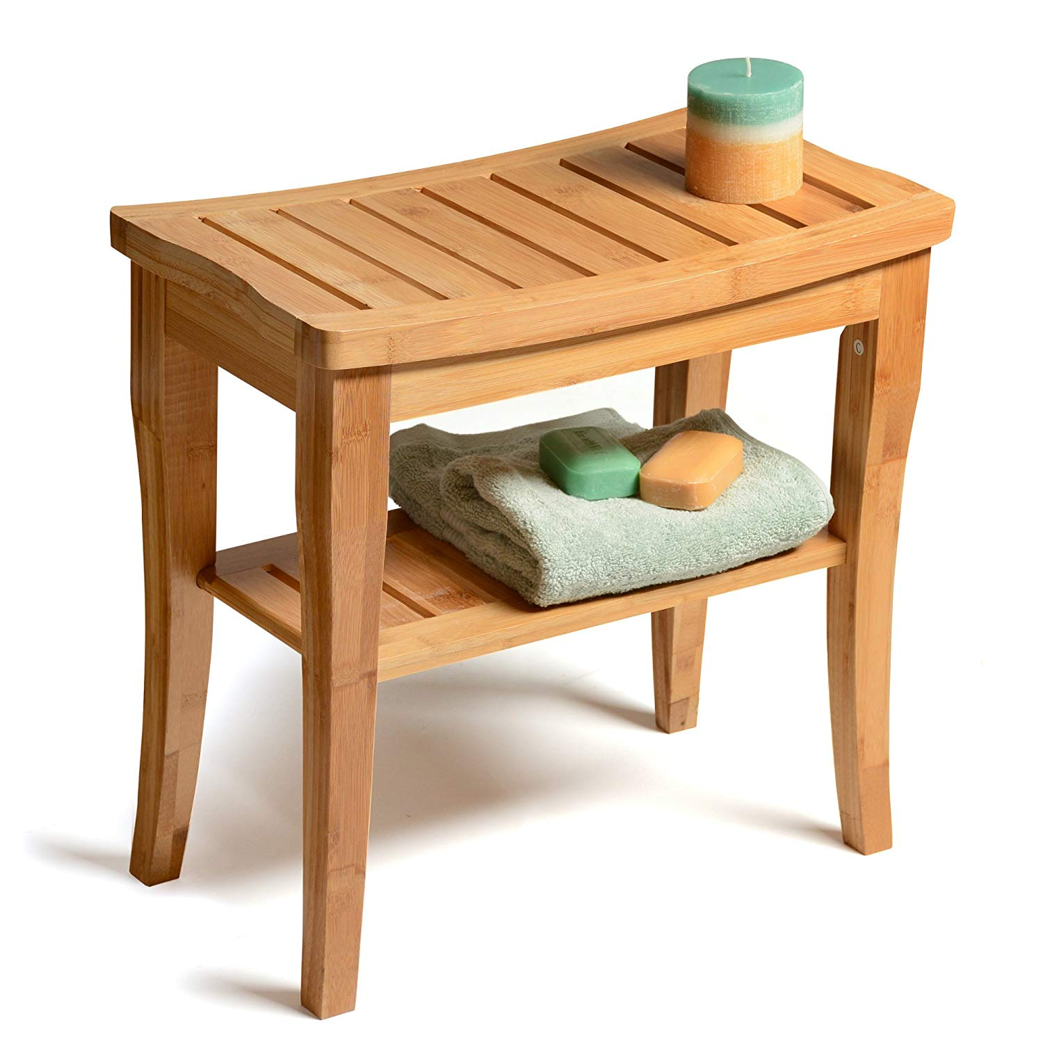 Bambusi Shower Bench Stool With Shelf - Bamboo Spa Bathroom Décor