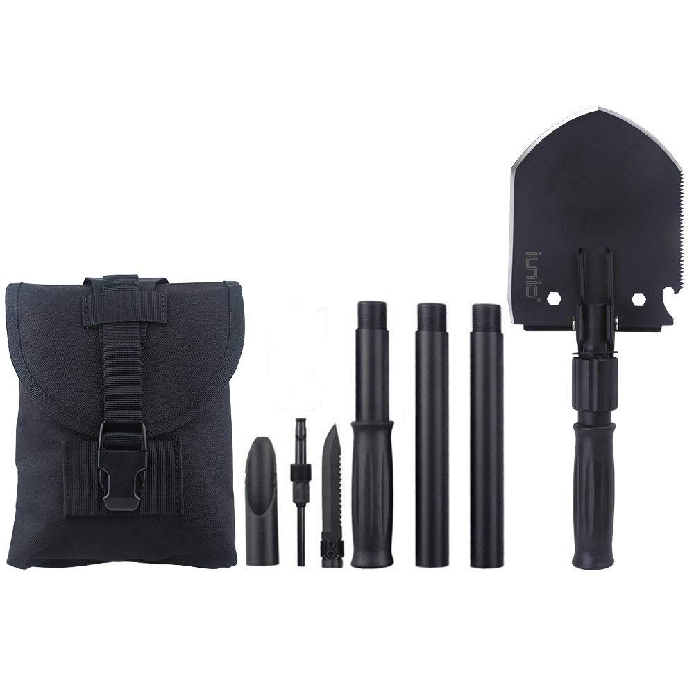 IUNIO Military Portable Folding Shovel and Pickax with Tactical Waist Pack Army Surplus Multitool