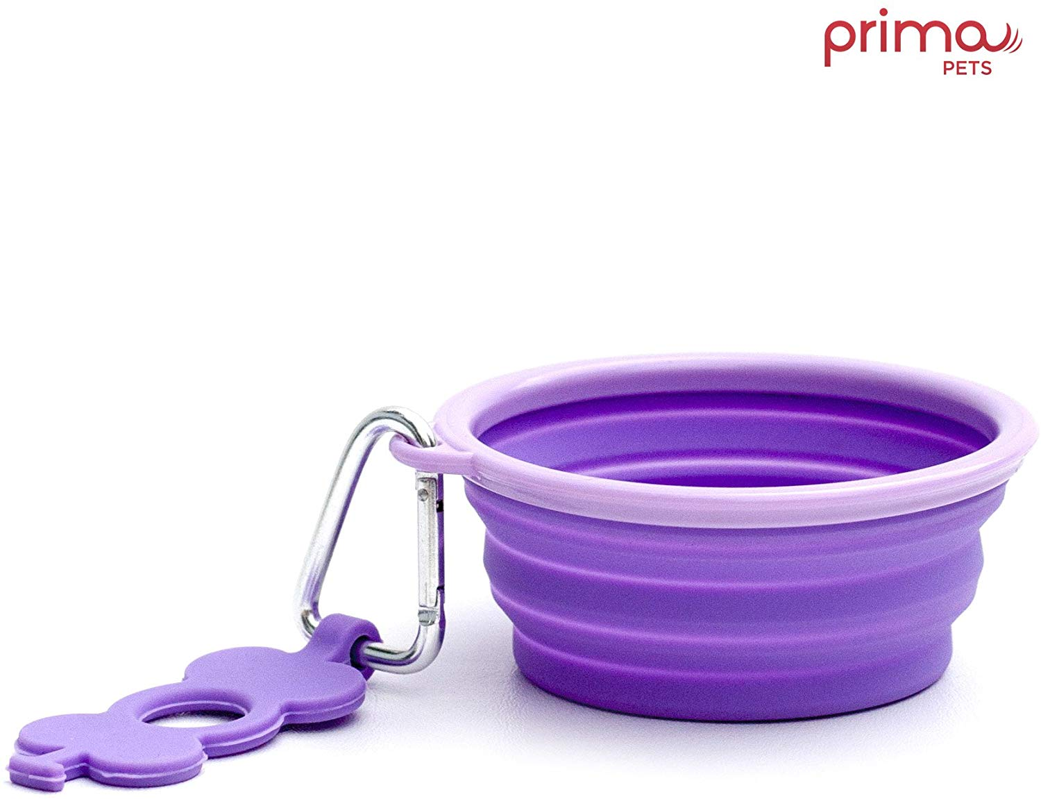 Prima Pets Collapsible Silicone Food & Water Travel Bowl with Clip for Dog and Cat