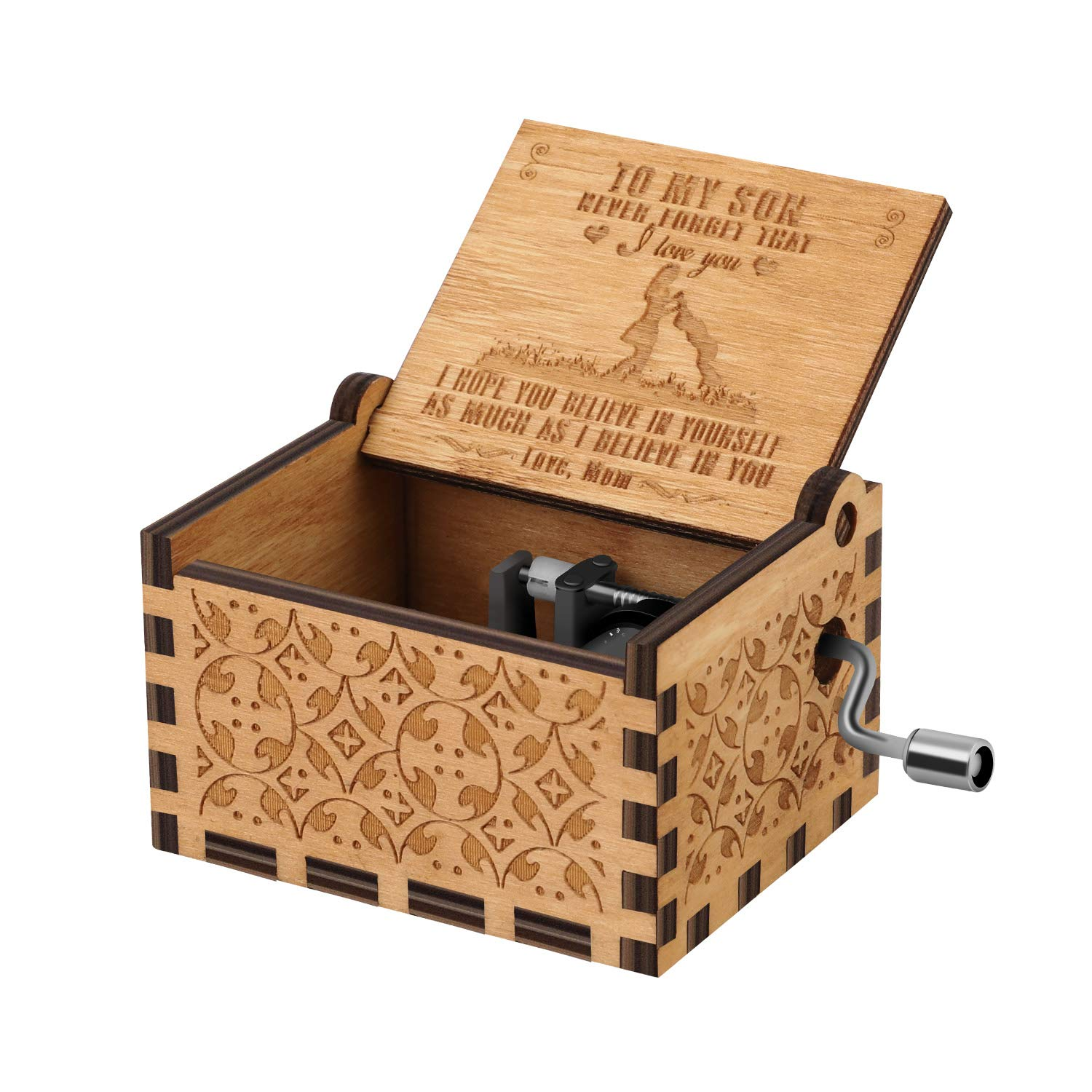 John Williams 18-note hand cranked musical box // music box in the shape of a book Hedwigs theme Harry Potter and the philosophers stone