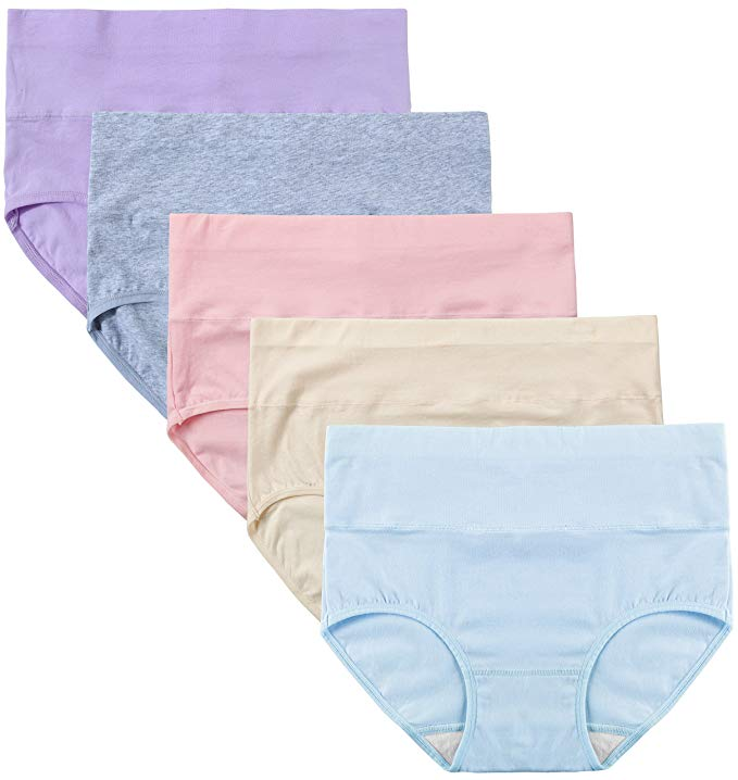 Innersy Women's High Waist Solid Color Tummy Control Cotton 