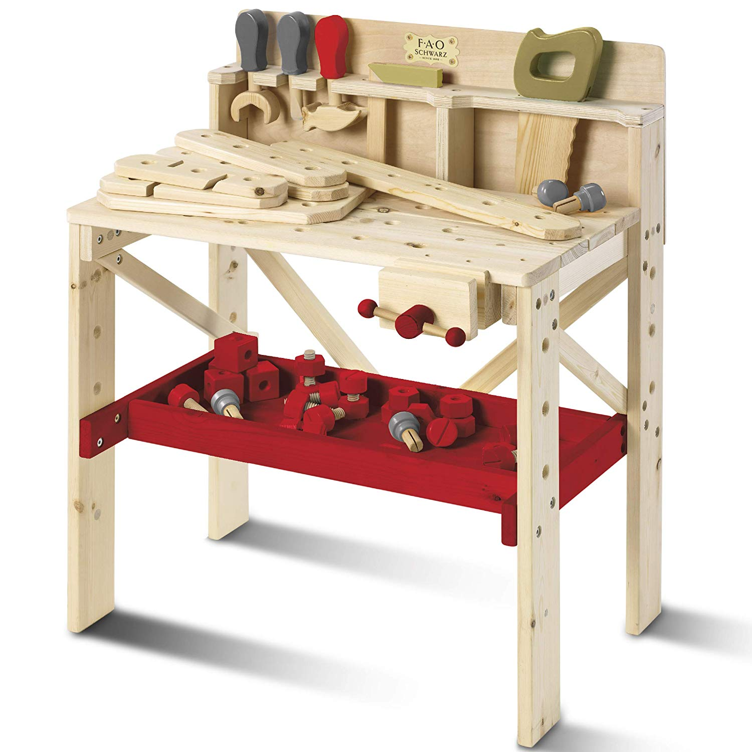 Fao Schwarz Solid Wood Toy Workbench With Tool Set (64 Piece Set).