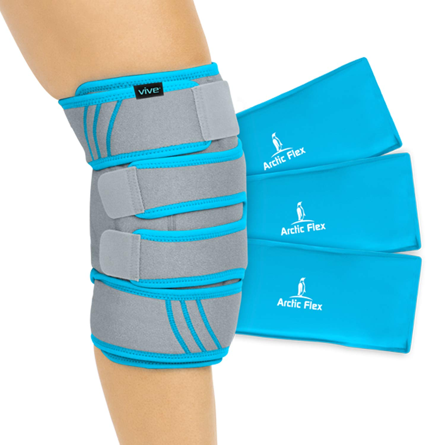 Vive Knee Ice Pack Wrap - Cold/Hot Gel Compression Brace