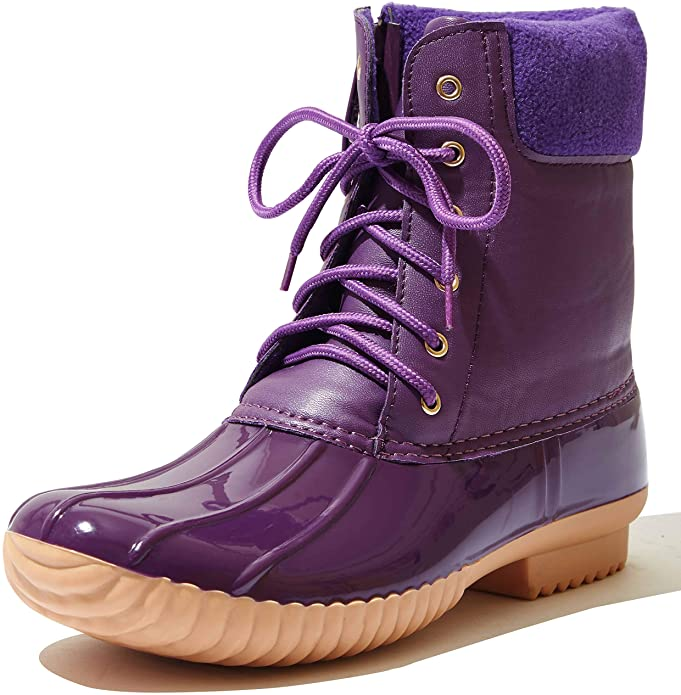 DailyShoes Women's Warm Rubber Rain Boots