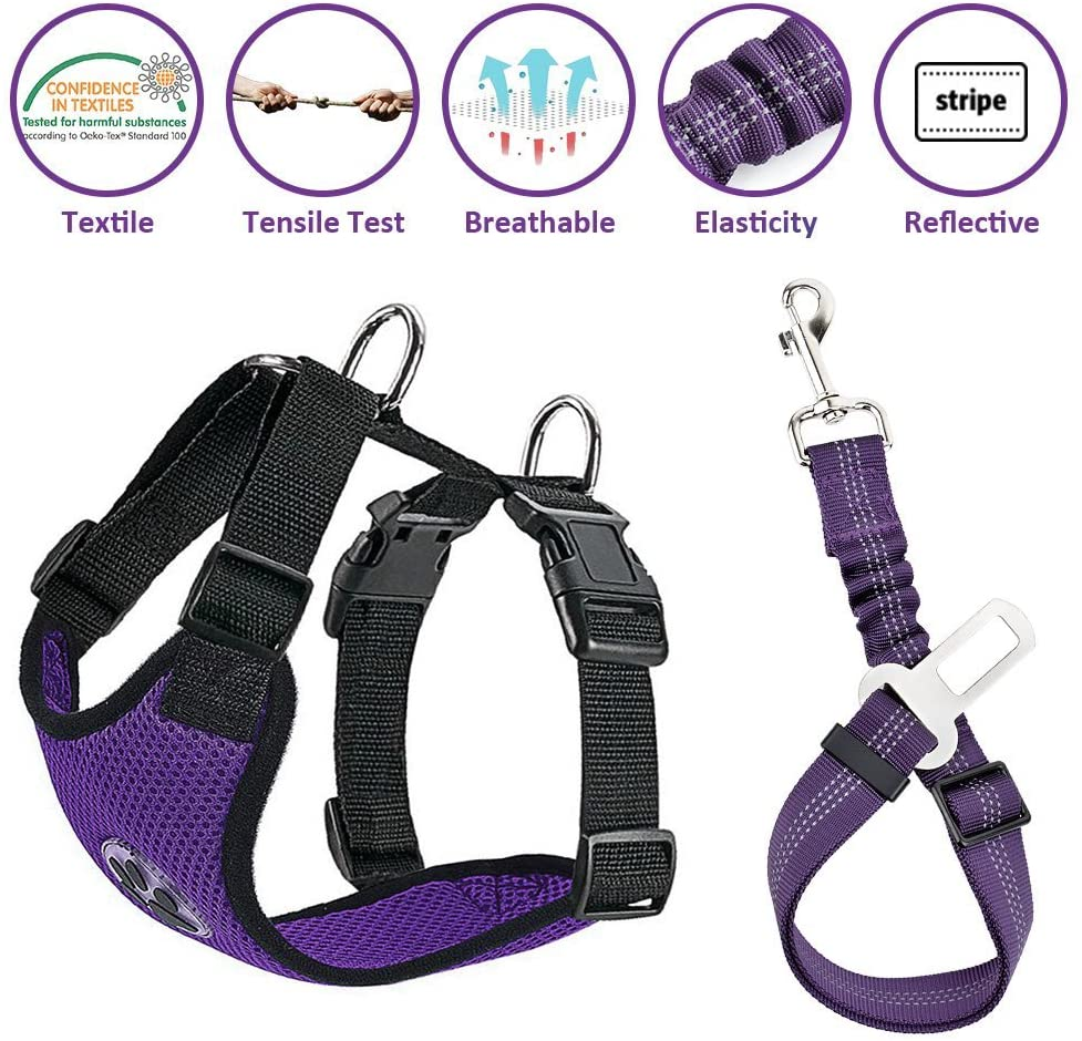 Lukovee Dog Safety Vest Harness with Seatbelt, Dog Car Harness Seat Belt Adjustable Pet Harnesses Double Breathable Mesh Fabric