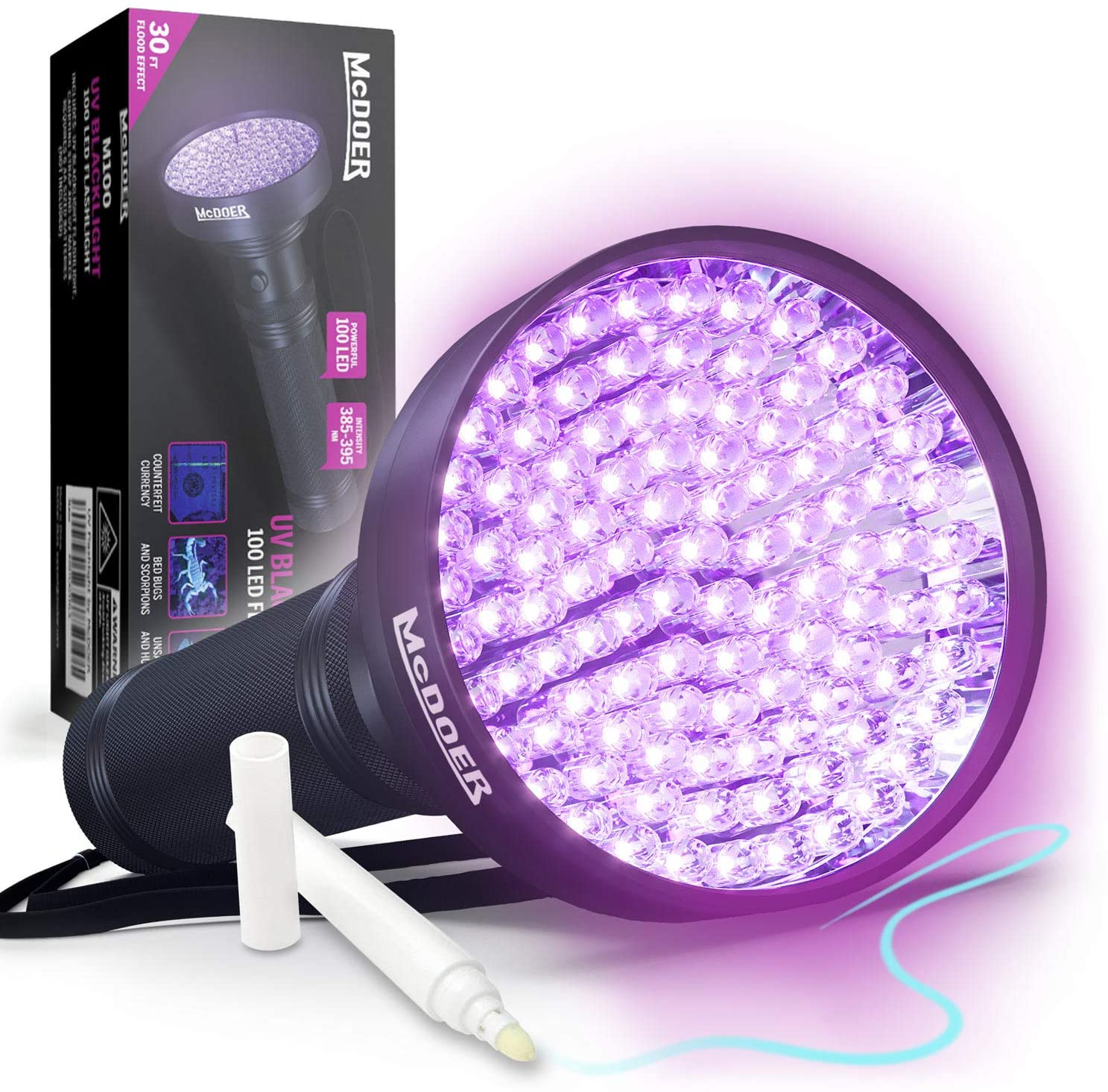 McDOER Blacklight Flashlight UV 100 LED with Ultraviolet Ink Marker for Urine Detection, Finding Scorpions, and Dog & Cat Pee - 18 Watt, 385-395nm