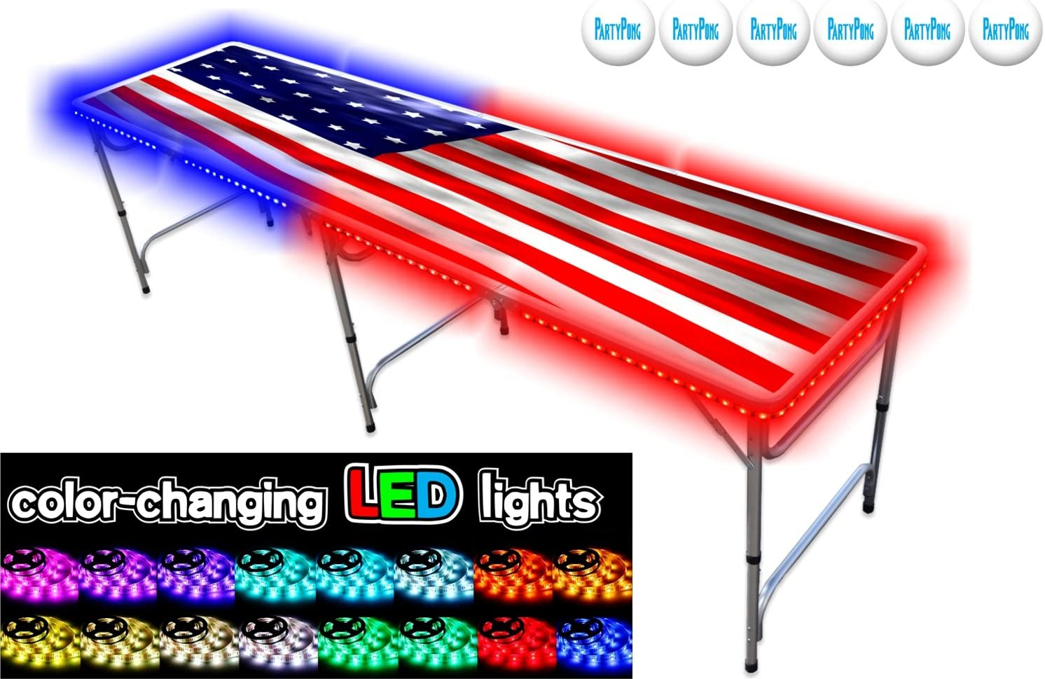 Partypongtables.com 8-foot Beer Pong Table W/led Lights - Usa Edition